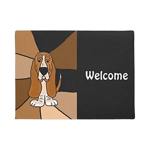LJQLXJ Felpudo Basset divertido Bienvenido Felpudo Decoración para el hogar Entrada Alfombrilla antideslizante Piso lavable de goma, Blanco, 40CMX60CM