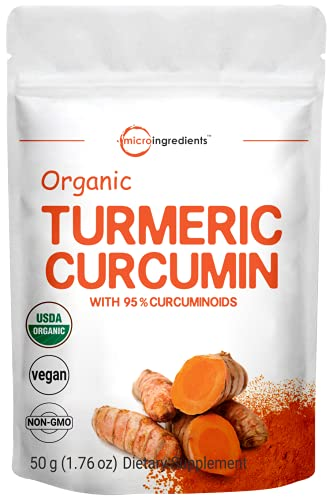 Polvo de curcumina orgánico (extracto natural de cúrcuma y suplementos de cúrcuma), rico en antioxidantes y vitaminas inmunes, los mejores suplementos para apoyo del sistema inmunológico e inmunológico, 50 gramos, apto para veganos.