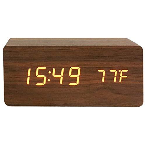 Tree-on-Life Kreativt trä väckarklocka röst tyst ledad kalender sängbord vardagsrum med andra temperatur klocka väckarklocka - rödved röd ljus