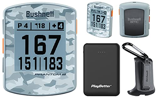 Bushnell Phantom 2 (Gray Camo) Handheld Golf GPS Power Bundle | Includes PlayBetter Portable Charger | 2021 Golf GPS Device | Built-in Magnetic Mount, 38,000+ Courses, Accurate Distances