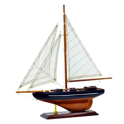 YSMLL America Style Miniature Boat Wooden Sailboat Model Home Decoration Gift for Children and Adult