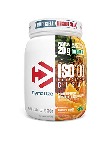 Dymatize ISO100 Hydrolyzed Clear Protein Powder, 100% Whey Protein Isolate Powder, 20g of Protein & 4g BCAAs, Gluten Free, Keto Friendly, Easy Mixing, Light & Refreshing, Pineapple Orange, 1 lbs