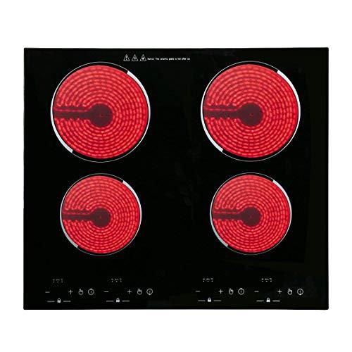 Piastre elettriche, piastre di cottura vetroceramica, Vetro Nero (Nero-C43)