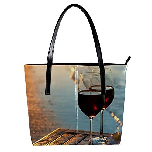 LORVIES - Escena de playa romántica al atardecer el sol con dos copas de vino rojo, bolso bandolera de piel sintética y bolsos de mano para mujer
