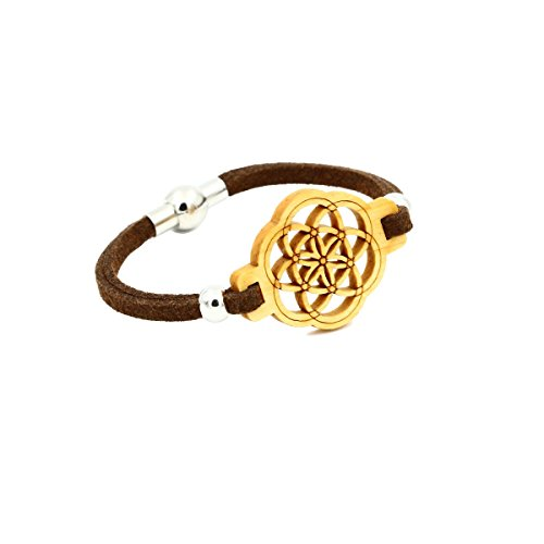 Eydl Wood Jewelry Samen des Lebens - Armband aus Holz - Zirbe (Kiefer) - braunes Lederband - Magnetverschluss