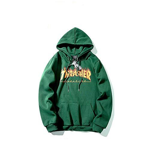 ZALA Thrasher Sudadera Capucha Pullover Hood para Hombres y Mujeres con el Mismo Párrafo Hoodie, Classic Print Plus Suéter con Capucha de Skategoat Terciopelo