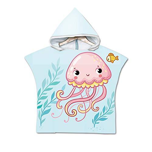 Badeponcho Strandtuch mit Kapuze für Kinder, Treer 3D Cartoon Mikrofaser Bademantel Badetuch Schnelltrocknen Wechselkleider Poncho Handtuch Für Jungen Mädchen (60X60cm,Baby Pink)