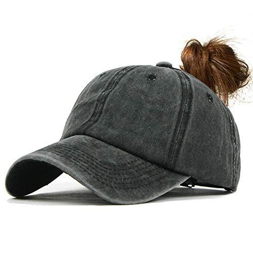 Gomerbesen Ponytail Baseball Cap Washable Cotton Pony Caps Adjustable Messy Bun Baseball Hat Black