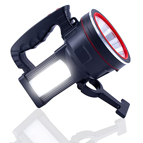 OCSMT Rechargeable Spotlight Flashlight Handheld, 8000 Lumens LED Spotlight Outdoor High Bright IPX6 Waterproof With Power Display and USB Output 12800mAh,5 Lights Modes for Home Emergency and Outdoor