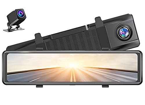 """AKASO DL12 2.5K Mirror Dash Cam Voice Control 12"""" Touch Screen Front and Rear Dual Dash Camera for Cars Enhanced Night Vision Backup Camera with Sony Starvis Sensor GPS G-Sensor Parking Assistance"""
