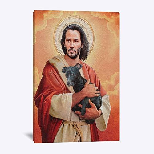 Leinwand gedruckt Malerei Wandkunst moderne HD-Poster Keanu Reeves Meme Jesus Porträt Bilder, für Schlafzimmer Home Decoration Kein Rahmen (Size : 30x40cm No Frame)
