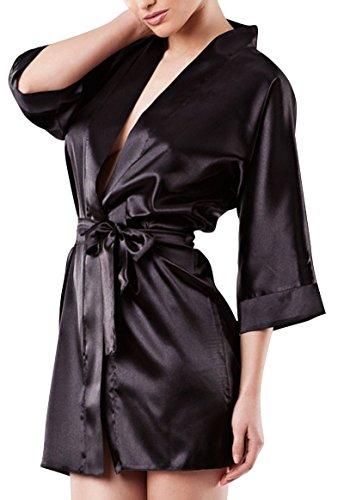 Dkaren 90Luxus-Morgenmantel, Satin, Kimono, Nachtwäsche Gr. Large, schwarz