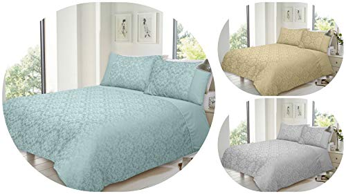 Voice7 Luxurious Savoy Jacquard Duvet Cover Set with Two Pillow cases - Super Bedding Sets (Super King, Duck Egg)