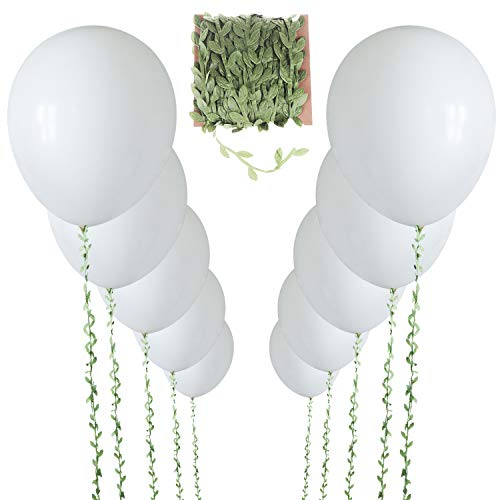 10 Pieces 36 Inch White Balloons Giant Balloon with 65ft Artificial Vines for Wedding Birthday and Event Decorations (White)