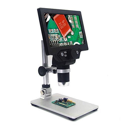 Kecheer Digital Microscope with Aluminum Alloy Stand 12MP 1-1200X 7 Inch Large HD Color Screen Large Base Continuous Zooming Magnifier - G1200