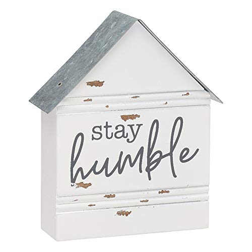 Collins Rustic House-Shaped Mini Wood Block Sign (Stay Humble)