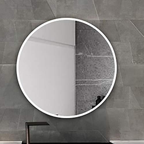 GJ@ Nordic Kreiswandspiegel | Spiegel | Badspiegel | Aluminium Schräg Grenze | Badspiegel | Dekorativer Spiegel Gehängt Werden Kann Wohnzimmer A+ (Color : White, Size : 70cm)