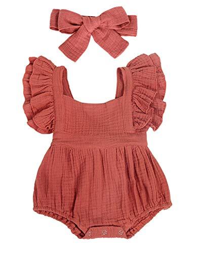 WonderBabe Infant Baby Girl Rüschen Ärmelloser Strampler Bodys Jumpsuit Lässige Sommerkleidung Outfit Braun Alter 9-12 Monate