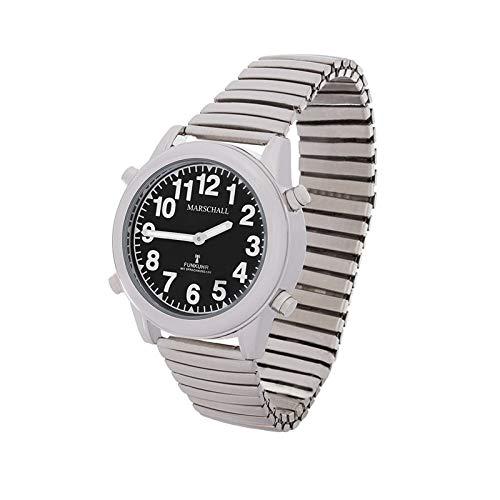 Sprechende Funk-Armbanduhr Damen & Herren Metall-Zugarmband Black Stile Herrenuhr