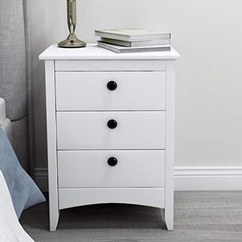 ModernLuxe Weiß Nachttisch Kommode mit 3 Schubladen Holz Nachtschrank für Schlafzimmer 45 x 36 x 61 cm