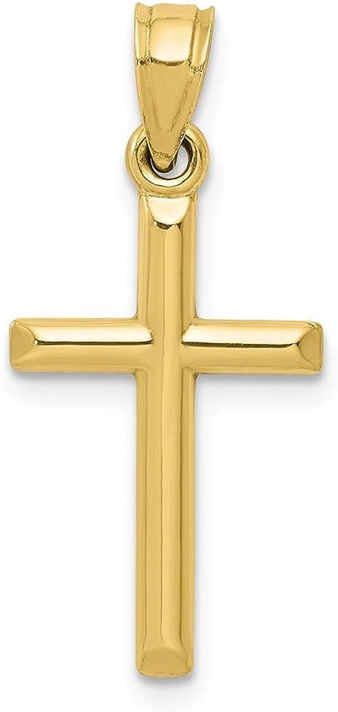 "10k Yellow Gold Cross Pendant Charm Small - ( 3/4"") - 19mm x 11mm"