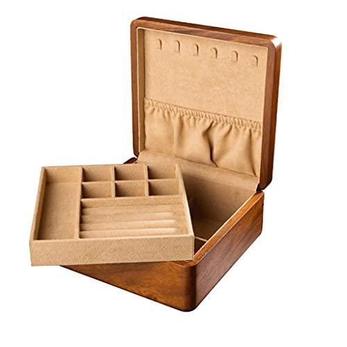 SMFN Caja de joyería de Teca para almacenar artículos pequeños, como Joyas o Gemas, Anillos de aretes y Collares adecuados para Mujeres 3.4'x 7' x 7' (Color : A)