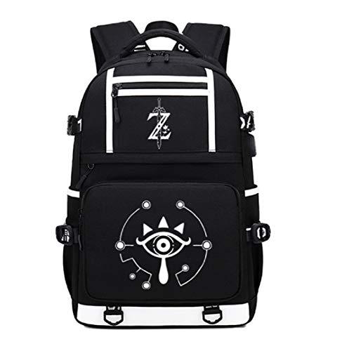 GO2COSY Luminous The Legend of Zelda - Mochila para estudiantes con puerto de carga USB