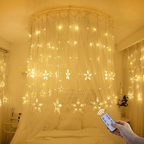 Yinuo Light Christmas Window Lights 138 Led Christmas Lights with 8 Flashing Modes Remote Control Curtain Fairy String Lights with Hook 12-Star for Christmas Wedding Bedroom Party Birthday