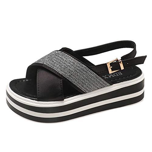 YUYOUG Mode Féminine Couture Strass Bout Ouvert Chaussures Plates Sandales Croisées à Brides Croisées (Black, EU 38)