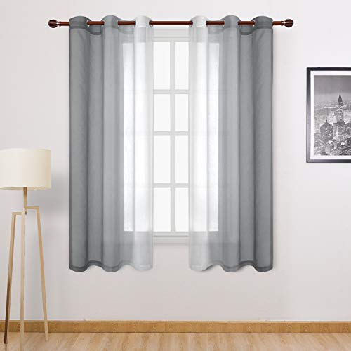 DWCN Grey Ombre Sheer Curtains - Faux Linen Gradient Grommet Top Semi Voile Bedroom and Living Room Curtains, Set of Window Curtain Drapes, 42 x 63 Inch Length