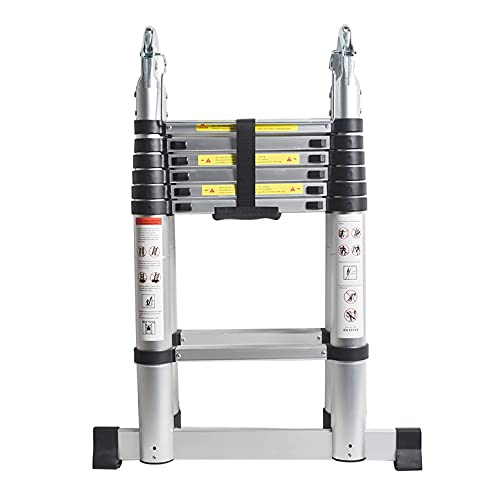 12.5FT Aluminum Telescoping Ladder, Multifunctional Herringbone Ladder,...