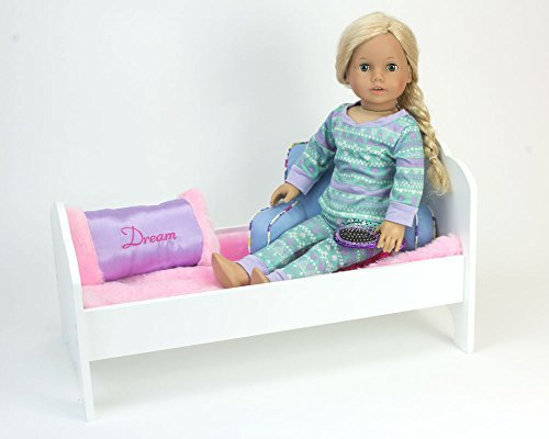 18 Inch Doll Wooden Furniture 4 Pc. Set Perfect for Doll 18 Inch Furniture American Girl Dollhouses and More! Wooden 18 Inch Doll Table, 2 Chairs & Doll Bed Set or for 18 inch Doll House Furniture
