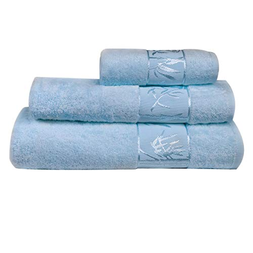 Marmaris Co. Bamboo Towels Set of 3 Extra Large, Soft, Absorbent, Lightweight and Sustainable Luxury Bath, Face and Hand Towel for Bathroom Blue