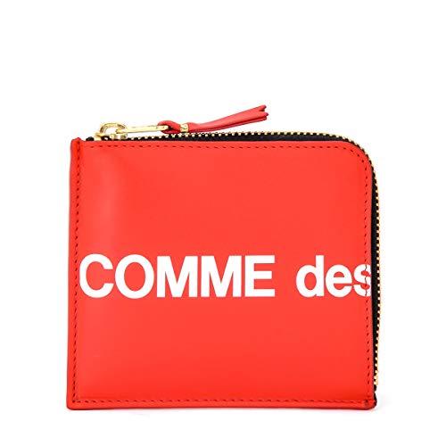 Comme Des Garçons Portemonnaie Wallet Huge Logo in Leder Rot Reißverschluss L-förmig