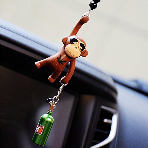 YGMONER Wearing Sunglasses Monkey Car Charm Interior Rear View Mirror Hanging (Brown & nitrogen Bottle)