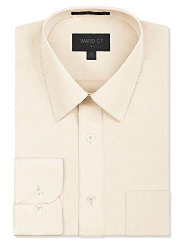 Ward St Men's Regular Fit Dress Shirts, 2XL, 18-18.5N 36/37S, Ivory