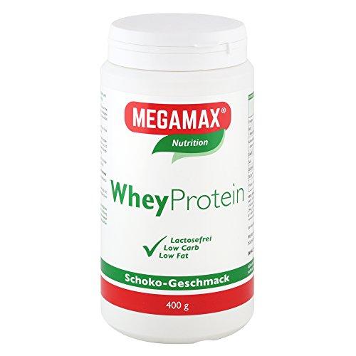 MEGAMAX Whey Protein Drink Molkeneiweiß Schoko 400 g   laktosefreie Molkeneiweißisolat   hochwertiges Low Carb Molkeprotein-Isolat   Eiweiß-Shake ideal für Muskelaufbau, Knochen u. Fitness (Schoko, 400)