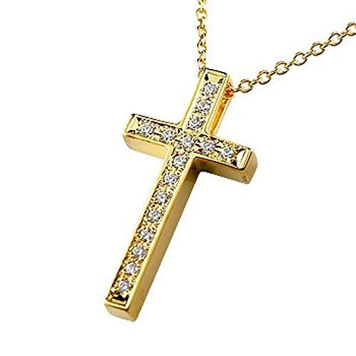 [アトラス]Atrus ネックレス メンズ 18金 ホワイトゴールドk18 ダイヤモンド クロス ペンダント トップ チェーン(シルバー925)