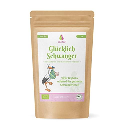 JoviTea® Glücklich Schwanger Tee BIO + Traditionelle Rezeptur + Schwangerschaftstee + geeignet während der Schwangerschaft + 100{cf6ed7c9e97d0a39c2683ac38ebcf7d7c3730c9fe76d3bf9ac1e3d2581a51e40} natürlich und ohne Zusatz von Zucker - 75g