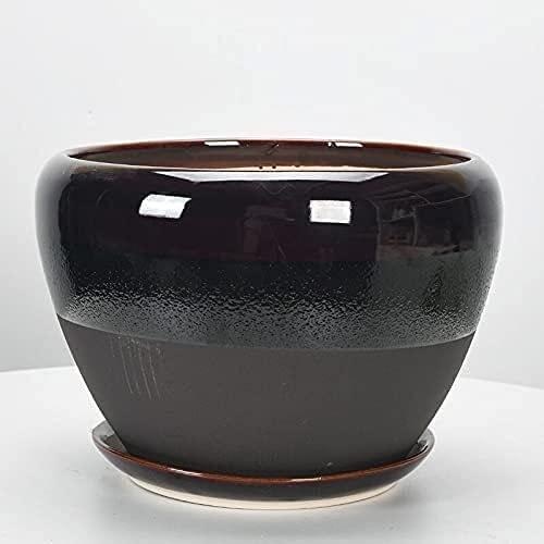 WANIYA1 Simple chino suculento cerámico plantadoras de cerámica color de moda macetas jardín al aire libre bonsai macetas planta contenedores con un platillo del agujero de drenaje,for la decoración d