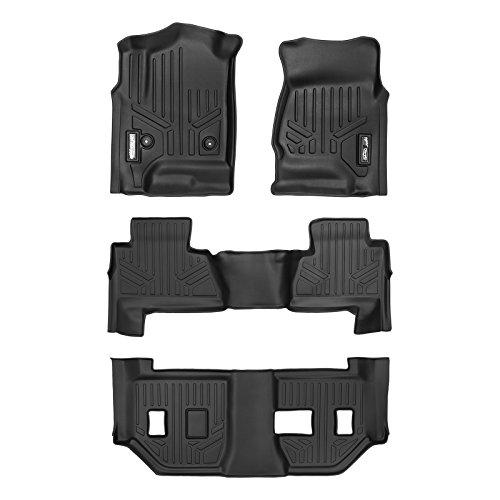 MAXLINER Floor Mats 3 Row Liner Set Black for 2015-2018 Chevrolet Suburban / GMC Yukon XL (with 2nd Row Bench Seat)