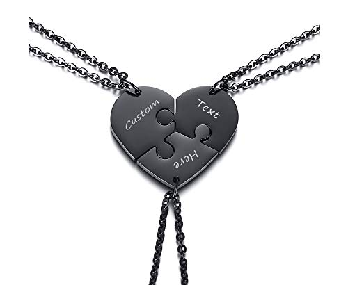 VNOX 3 Piece Heart Puzzle Piece Necklace Set Personalized Customized BBF Friendship Necklace for 3,Black