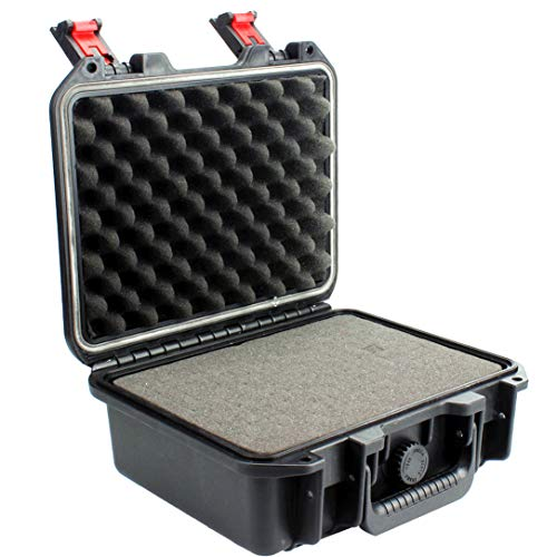 Soozee Gun Safe Case with Foam - Hard Pistol Case for Gun and Other Device Like Gopro, Label Makers, Mirrorless Camera (Black)