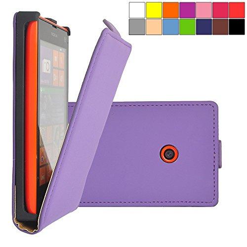 COOVY Custodia per Nokia Lumia 520/521 / 525 Slim Flip Cover Case della Copertura di Vibrazione Protezione, Pellicola Protettiva per Schermo | Colore Viola