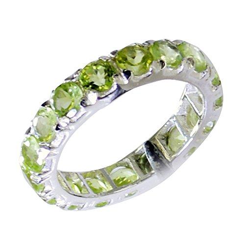 Jewelryonclick natürliche Peridot Sterling Silber Versprechen Ringe für ihre Schmuck Geschenk handgefertigt in Größe 60 (19.1)