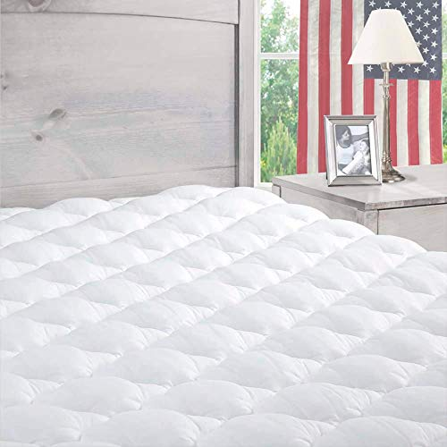 ExceptionalSheets Pillowtop Mattress Topper with Fitted Skirt - Extra Plush Mattress Pad Found in Marriott Hotels - Hypoallergenic - Made in The USA - King
