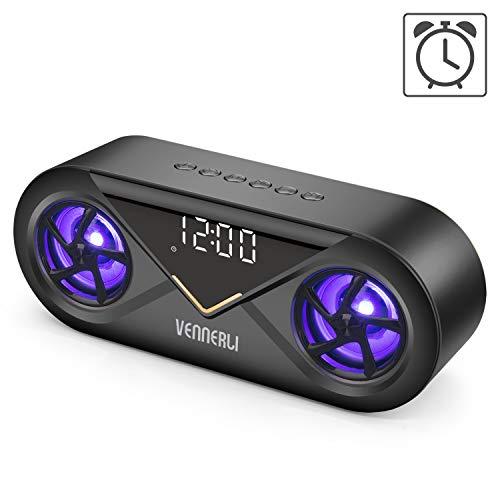VENNERLI Bluetooth Lautsprecher mit Wecker Uhr Wireless V5.0 LED Musikbox Bluetooth mit Ausgeglichen Klang und Starkem Bass 3D-Stereo-Sound, 24h Spielzeit Eingebauten Mikrofon