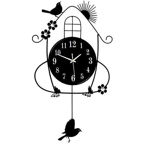 NICEAPR Reloj de Pared Reloj de Pared Creativo para Sala de Estar, Reloj de Pared con Escala de Hierro Forjado, Reloj Transparente, Reloj electrónico para Sala de Estudio Shiying, 36 CM * 70 CM