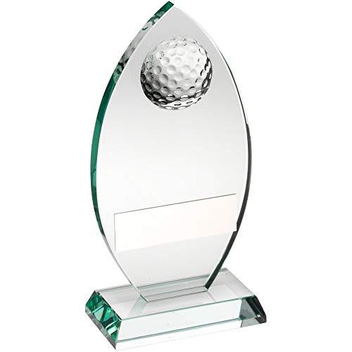 Womack Graphics JR2-TD442M Jade-Glasschild mit halber Golfball-Trophäe – 17,1 cm mit kostenloser Gravur bis zu 50 Buchstaben