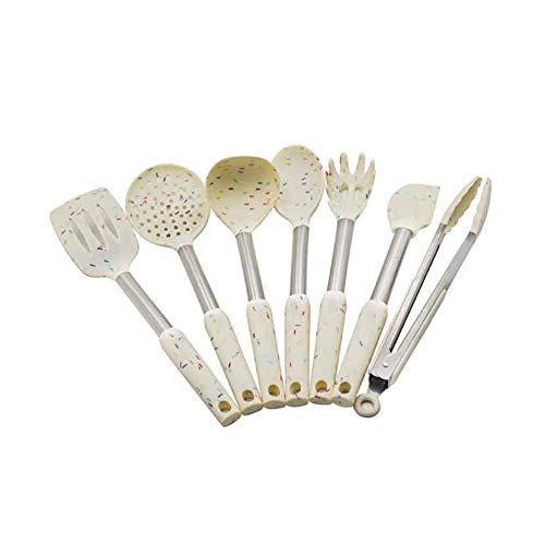 Sistema de cocina de silicona Juego de herramientas de cocina Utensilios Conjunto Spatula Shovel Soup Cuchara con mango de acero inoxidable Diseño especial resistente al calor lucar
